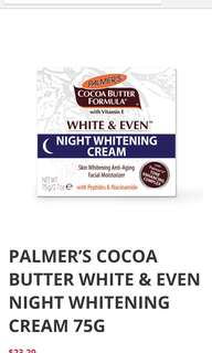🚚 PALMER'S COCOA BUTTER WHITE & EVEN NIGHT WHITENING CREAM 75G
