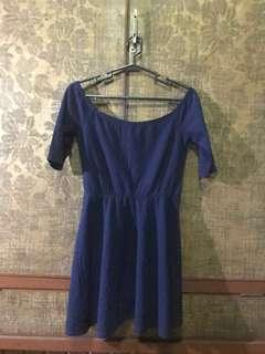 Dark Blue Semi Off Shoulders Dress