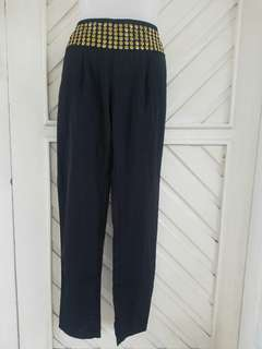 Black Loose Pants witb Gold