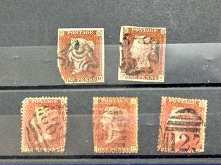 百幾年英國紅便,2個十字蓋印 3個殺手柬蓋印共5個