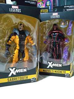 Marvel Legends Magneto and Sabretooth w/o Baf parts for Apocalypse