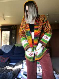 Hippy festival vintage colourful knitted jumper jacket size 6 8
