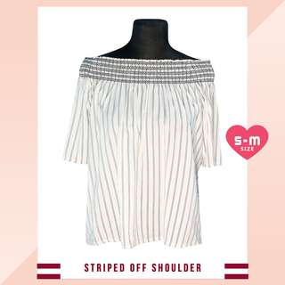 White Stripes Off Shoulder Blouse