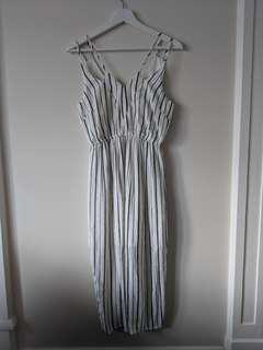 Striped V neck dress