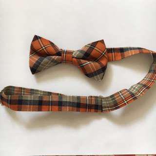 橙色格仔 Bow Tie 煲呔