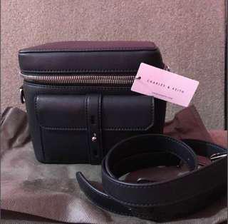 New Charles & keith sling bag black crossbody box