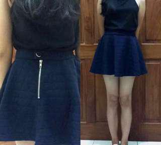 Navy mini skirt rok pendek