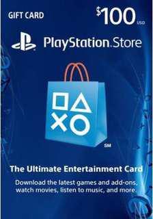 PSN gift cards US 100 usd