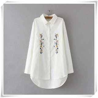 🚚 Plus Size Embroidered Dress shirt, Parallel Floral Embroidery