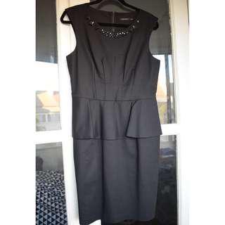 Portmans - size 12 - BRAND NEW black peplum work dress with jewel detail at neckline