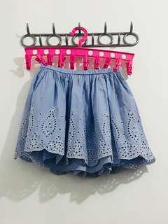 Light blue garterized skirt
