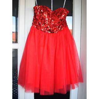 Red strapless party dress - sequined with tutu skirt - BRAND NEW with tags