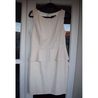 Portmans - size 12 - BRAND NEW with tags - cream patterned peplum work dress