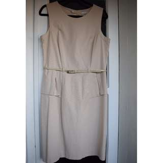 Cream sleeveless peplum work dress with belt - size 14