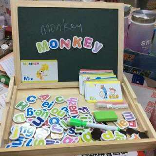 Magnetic Letters Pinyin Drawing Board, Blackboard and Magnetic Whiteboard in Wood Toy Container