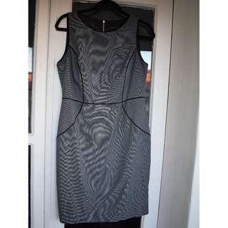 Portmans - size 12 - BRAND NEW with tags - dark grey patterned work dress with black piping