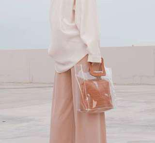 Transparent with Faux leather pouch bag