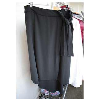 Portmans - size 14 - Black asymmetrical skirt with side tie
