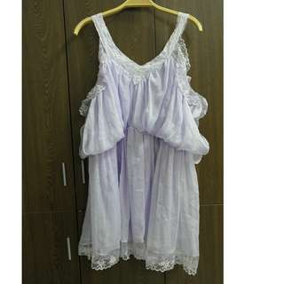🚚 淺紫露肩滾邊洋裝 #女裝88