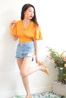 (NEW) Flare Sleeves Top in Mustard Yellow