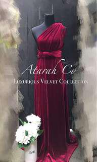 Bridesmaid Dress Velvet Red Infinity Convertible Dress