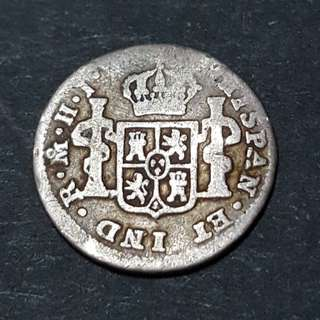 Spanish Mexico 1/2 Reales 1810 Silver Coin