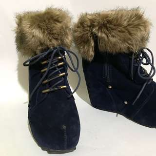 Navy Blue Suede Fur Boots