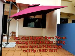 BRAND NEW SUNRAY OUTDOOR PATIO PARASOL DOUBLE TOP SQUARE UMBRELLA