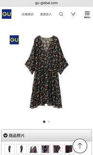 🚚 GU 黑底橘花碎花七分袖罩衫 #女裝半價拉