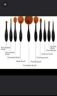 FOC NM+SILICONE PUFF**BN 10 PCS PRO ARTIS INSPIRED OVAL BRUSH SET **INSTOCK**$3 OFF PAYMENT MADE WITHIN 3 HRS/SELF COLLECT**
