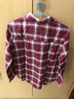 紅色格紋長袖襯衫