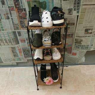 田園鐵藝織籐鞋架貨架