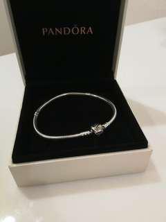Auth Pandora Charm Bracelet Silver 19cm