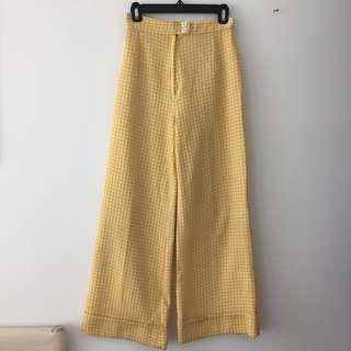 Vintage Yellow Checker Wide Leg Pants