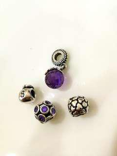 Pandora Charms Silver & Purple