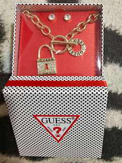 Authentic Guess Accessories (Necklace and Earrings) - New