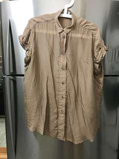 ACNE 100% Silk Oversize Loose Fit Beige Blouse 絲質杏色襯衫