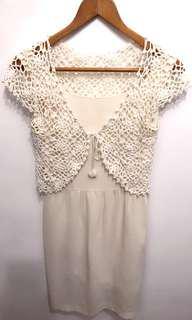 🚚 NON-STOP品牌米白洋裝送針織珍珠小外套。#女裝88