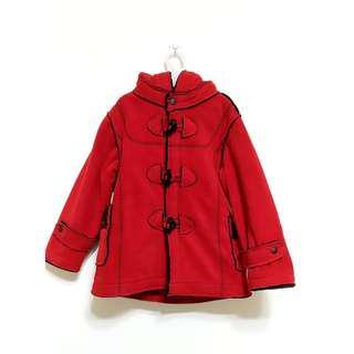 🚚 九成新羊角扣紅連帽大衣