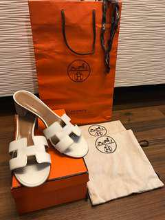 Authentic Hermes White Oasis Sandals