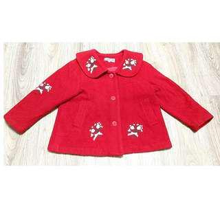 🚚 八成新娃娃領刺繡紅短版外套