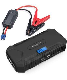 RAVPower Car Jump Starter 14000mAh 550A Peak 12V (up to 5L Gas, 3L Diesel Engine) Booster Battery Charger with 4.2A output Built-In LCD Display & LED Flashlight