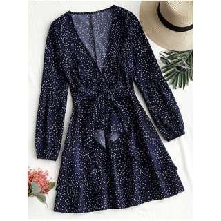 Zaful  Polka Dot Frills Layered Mini Dress