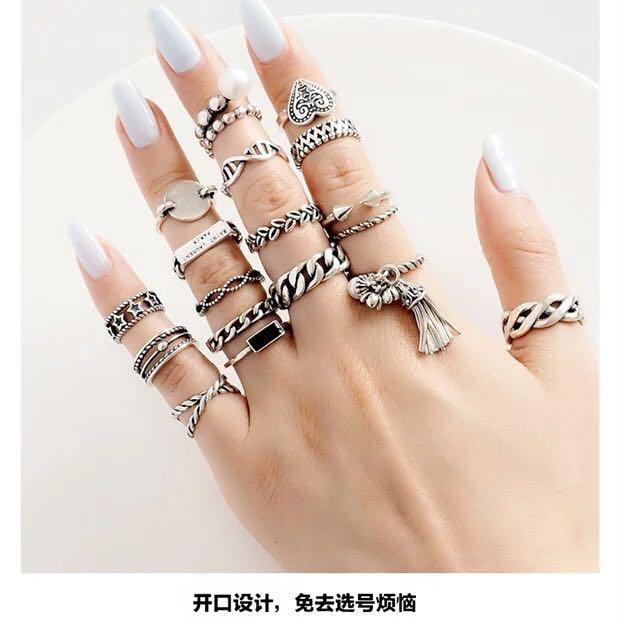 c2c8ab1cd1 925 sterling silver ring Korean version of the tide adjustable size ...