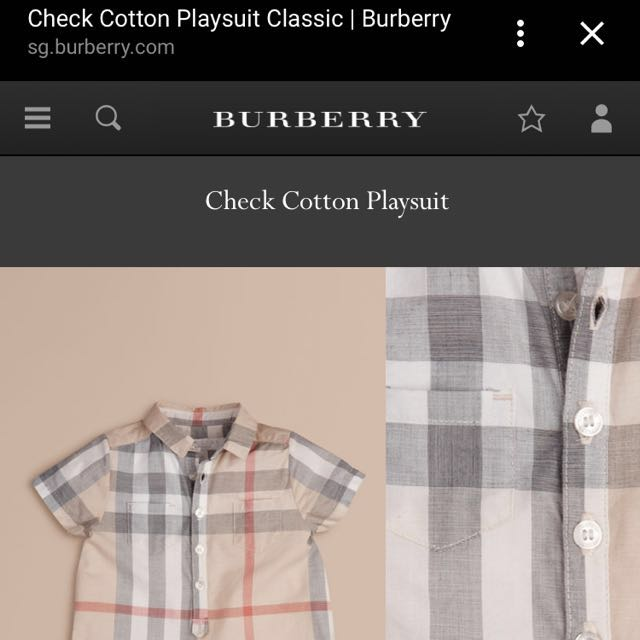936e19eba7a Burberry Classic Checked Cotton Playsuit - Price Reduced!!
