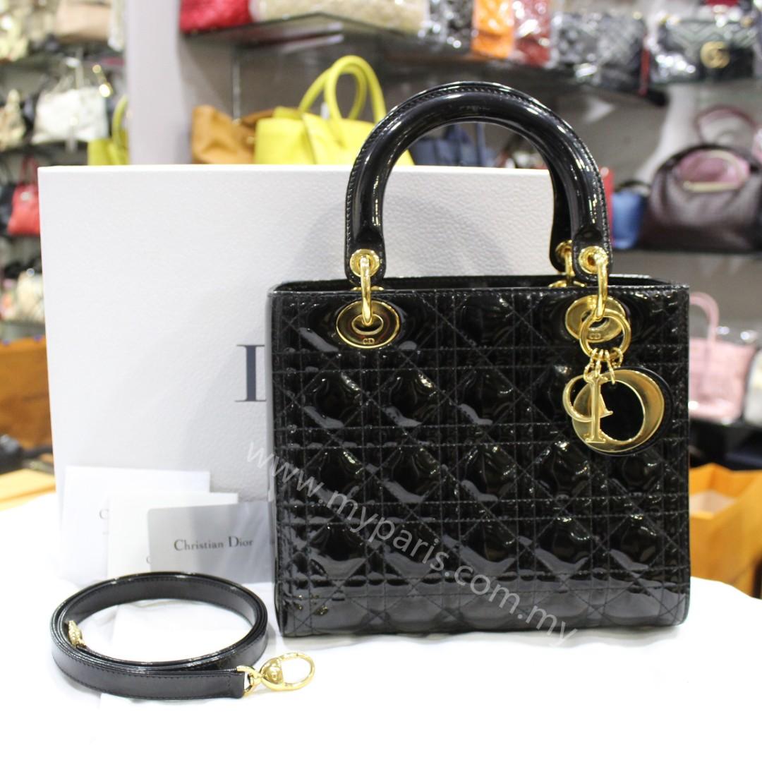 3f588af2581bd Christian Dior Black Patent Leather Lady Dior Medium GHW