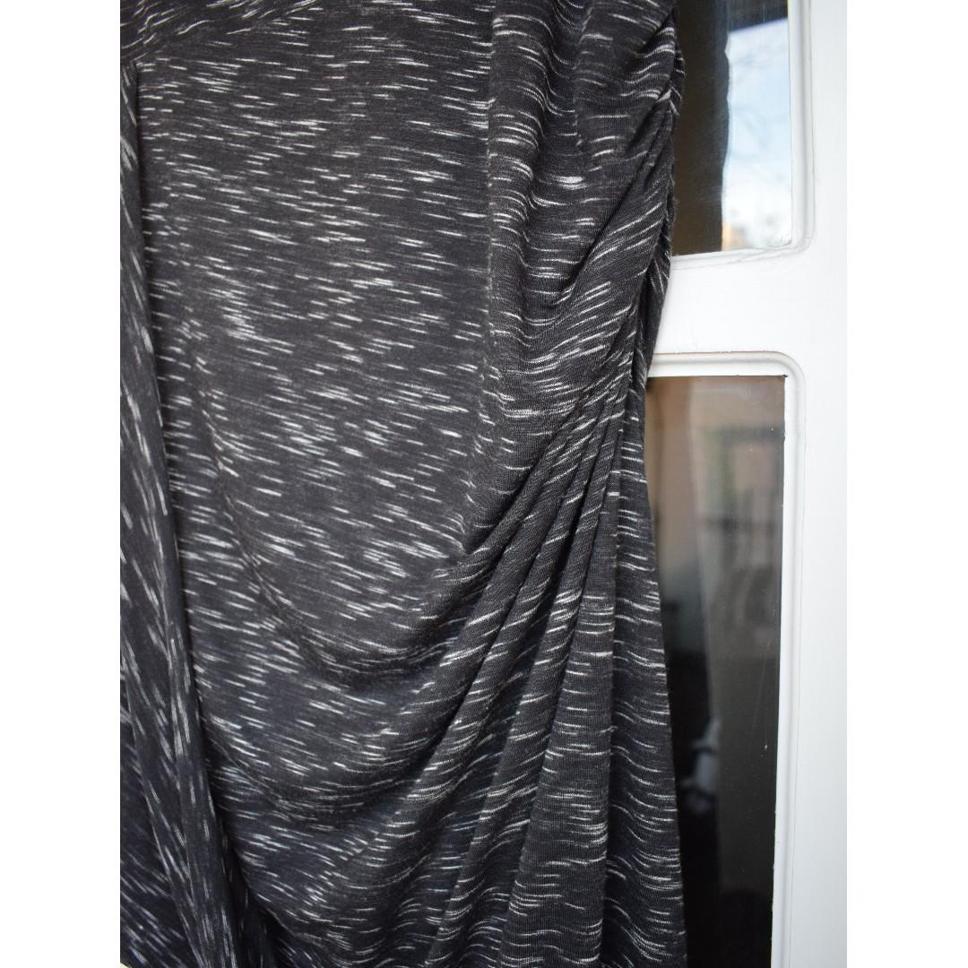 Forever New - size 12 - BRAND NEW black ruched asymmetrical dress with white pattern detail