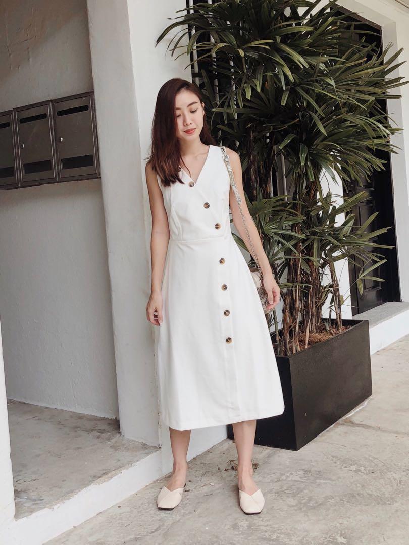 702707397c5 Love   Bravery Blaire Foldover Midi Dress White