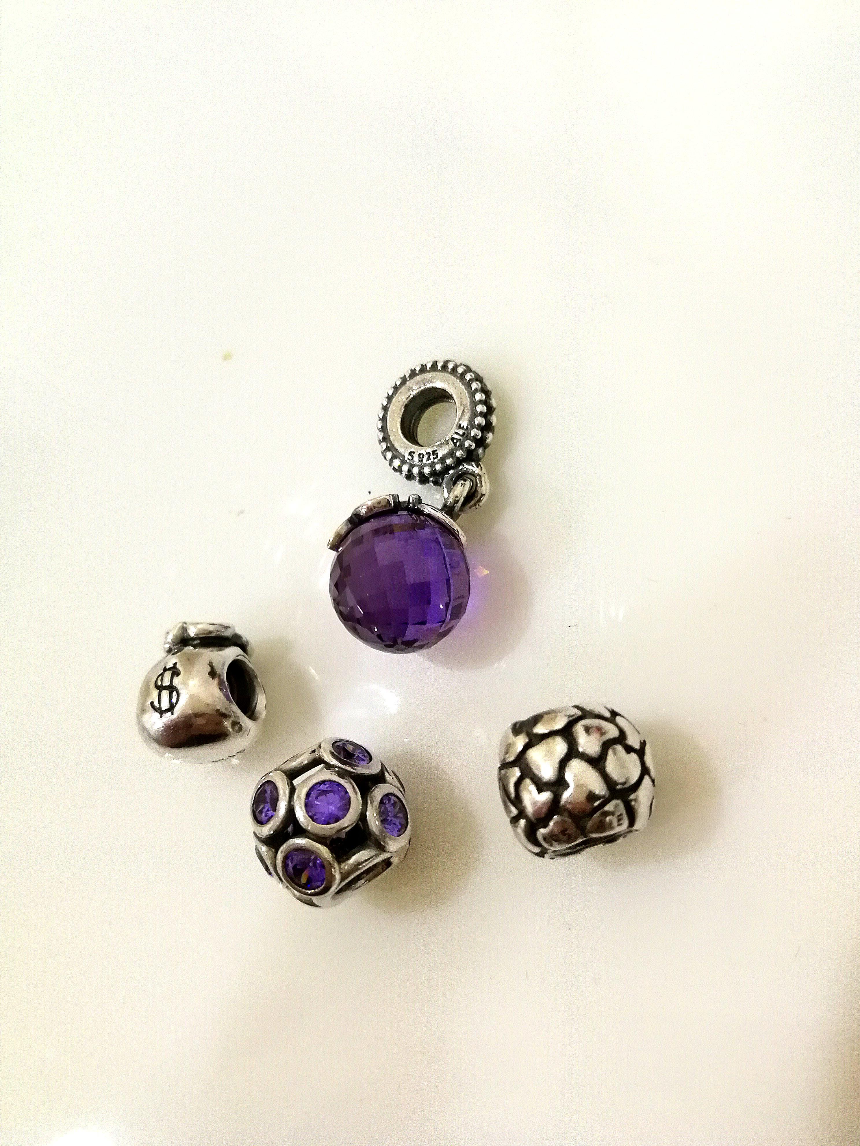 Pandora Charms Silver & Purple