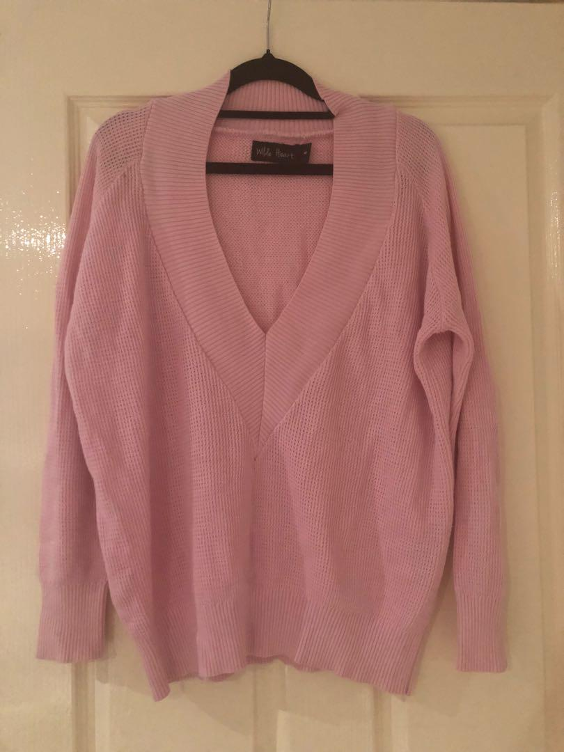 Pink oversized jumper - fits 6-10